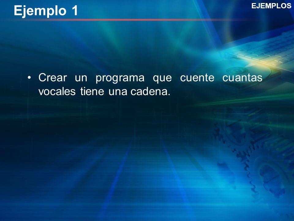 Ejemplo 1 EJEMPLOS Crear un programa que cuente cuantas vocales tiene una cadena.