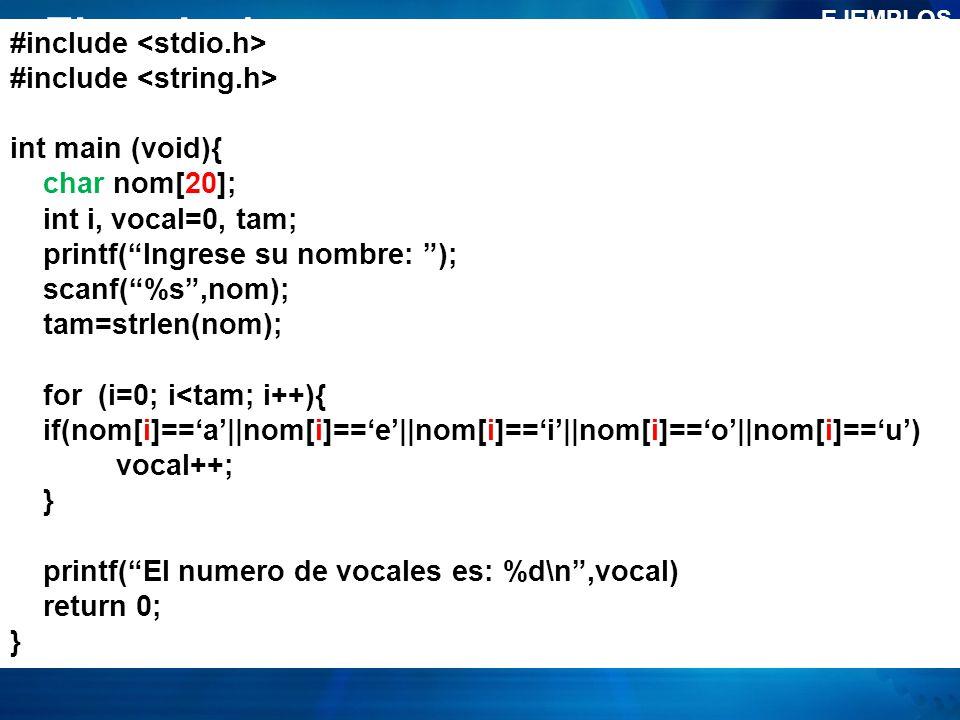 Ejemplo 1 #include <stdio.h> #include <string.h>
