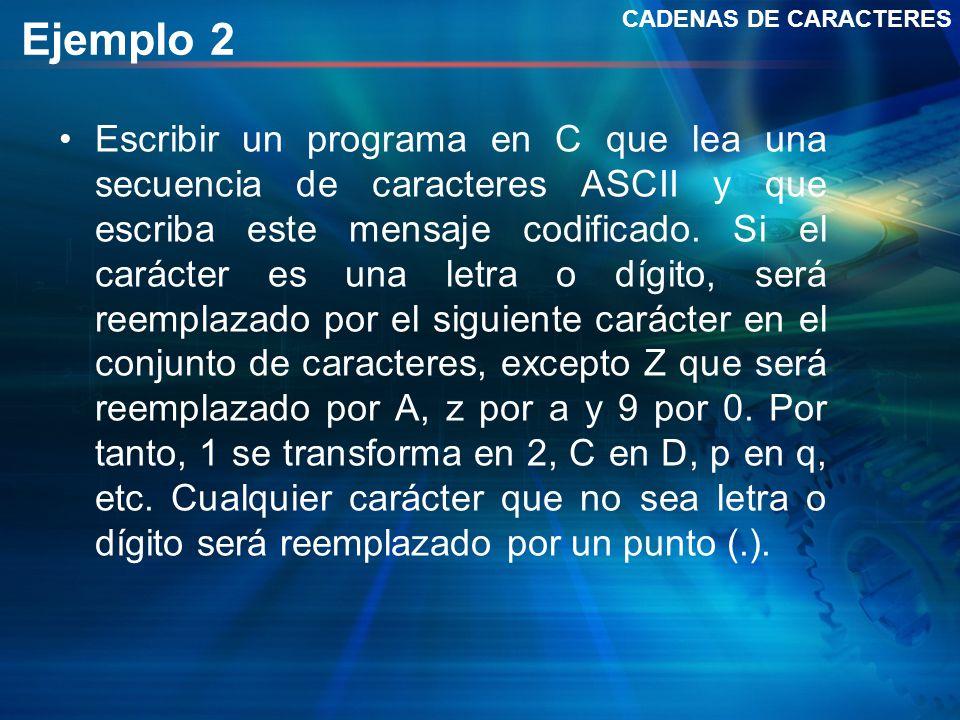 CADENAS DE CARACTERES Ejemplo 2.