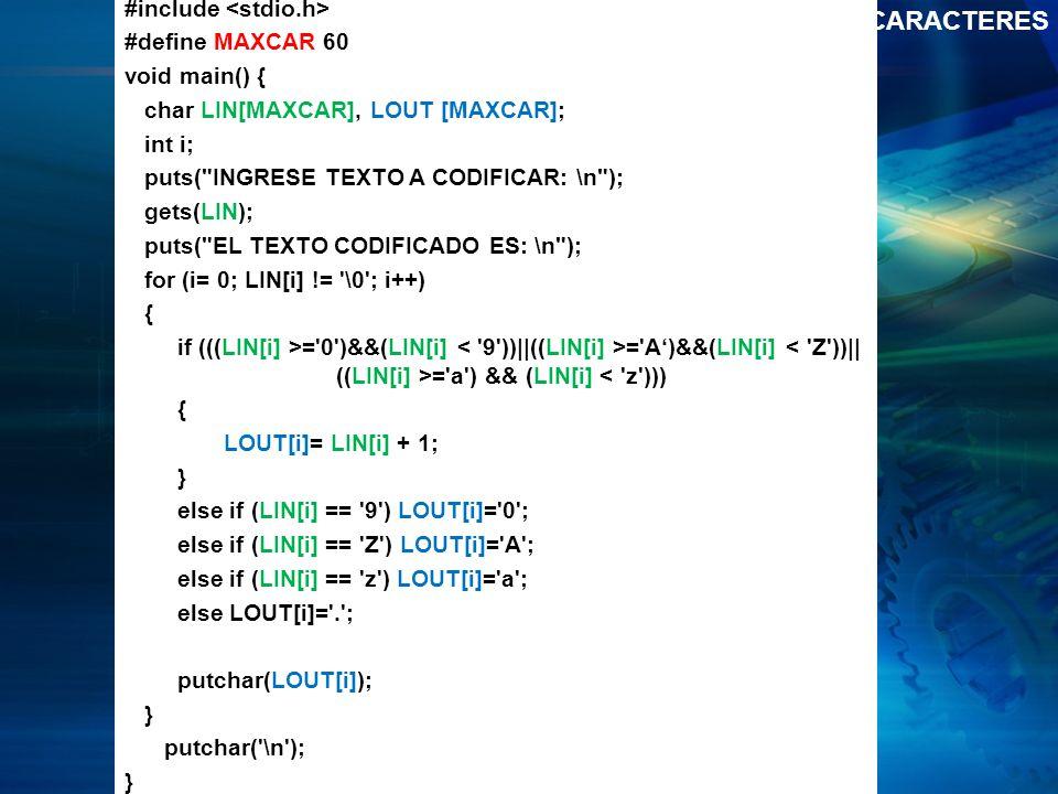 Ejemplo 2 CADENAS DE CARACTERES #include <stdio.h>