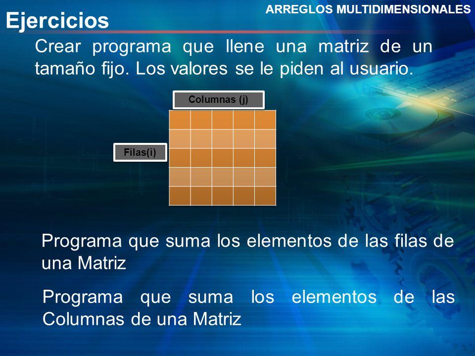 Ejercicios ARREGLOS MULTIDIMENSIONALES. Crear programa que llene una matriz de un tamaño fijo. Los valores se le piden al usuario.