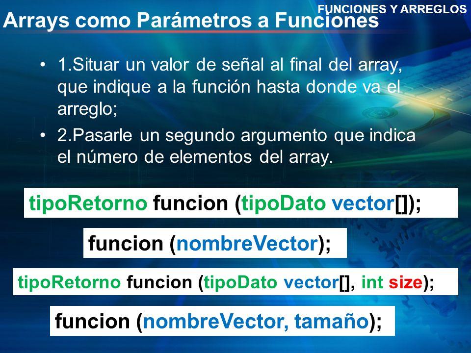 Arrays como Parámetros a Funciones