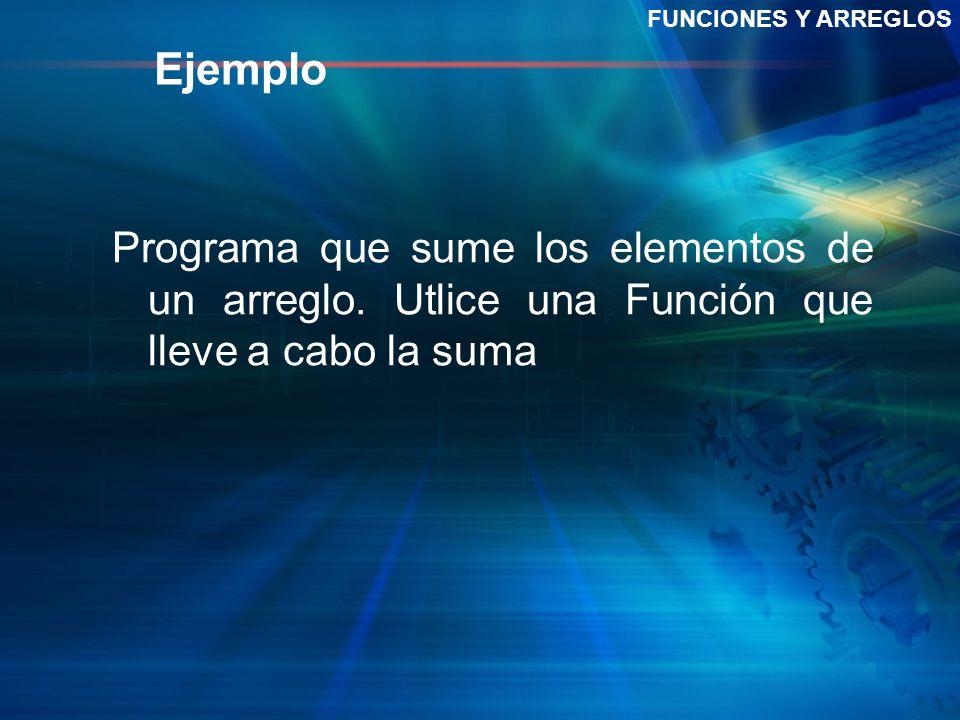 FUNCIONES Y ARREGLOS Ejemplo. Programa que sume los elementos de un arreglo.