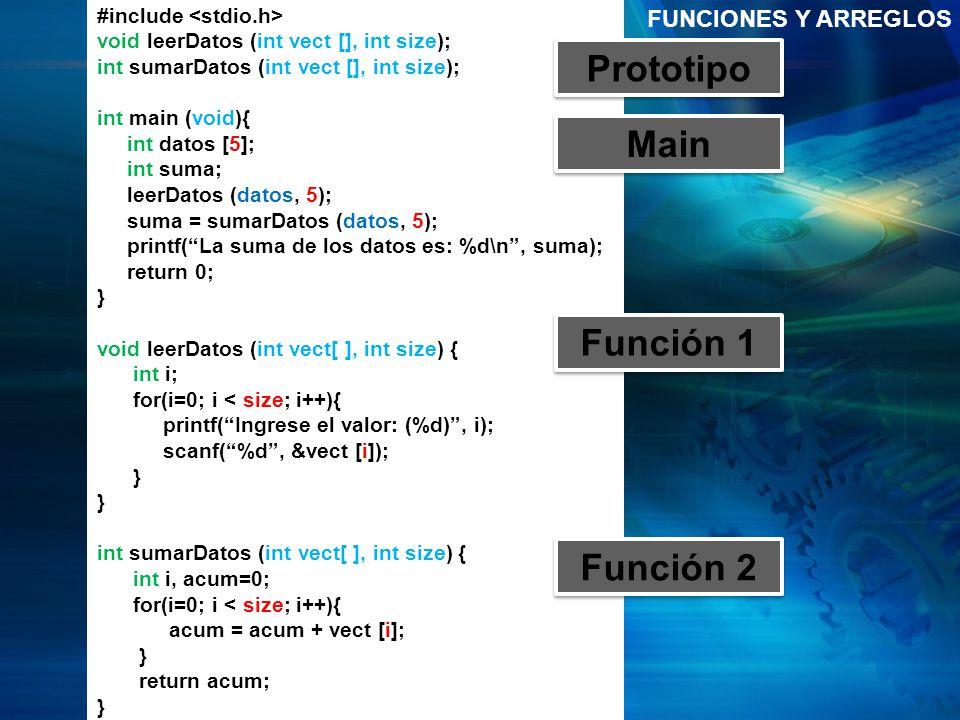 Prototipo Main Función 1 Función 2
