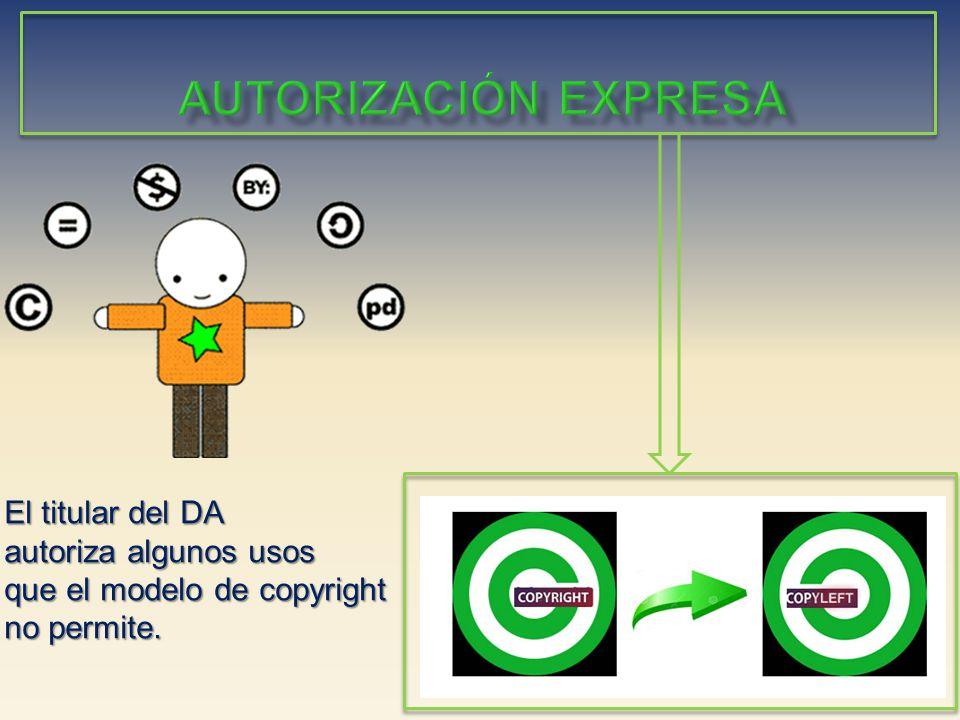 autorización EXPRESA El titular del DA autoriza algunos usos que el modelo de copyright no permite.