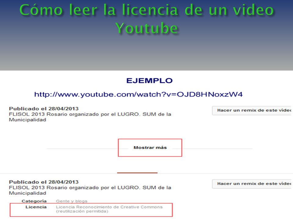 Cómo leer la licencia de un video Youtube