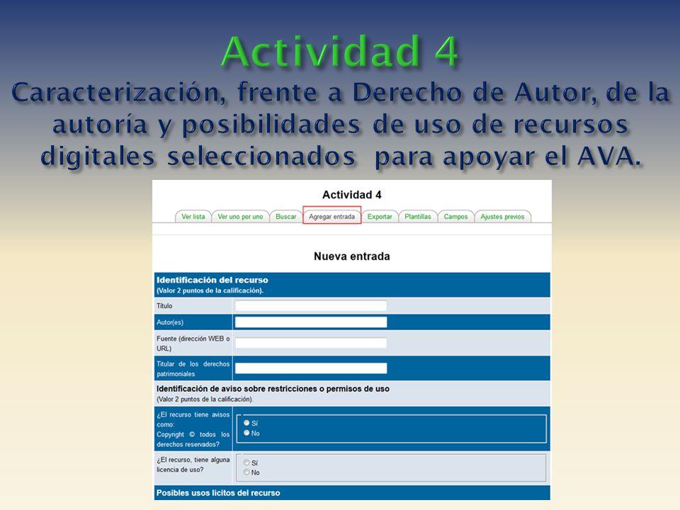Actividad 4 Caracterización, frente a Derecho de Autor, de la autoría y posibilidades de uso de recursos digitales seleccionados para apoyar el AVA.