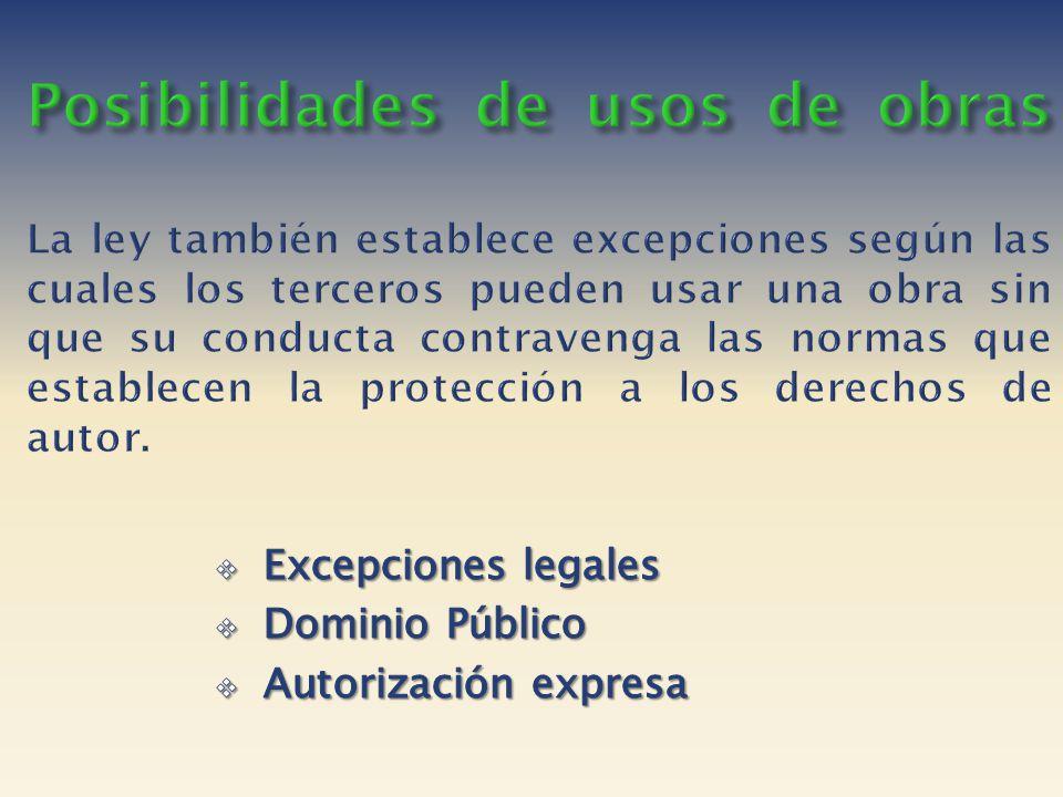 Posibilidades de usos de obras La ley también establece excepciones según las cuales los terceros pueden usar una obra sin que su conducta contravenga las normas que establecen la protección a los derechos de autor.