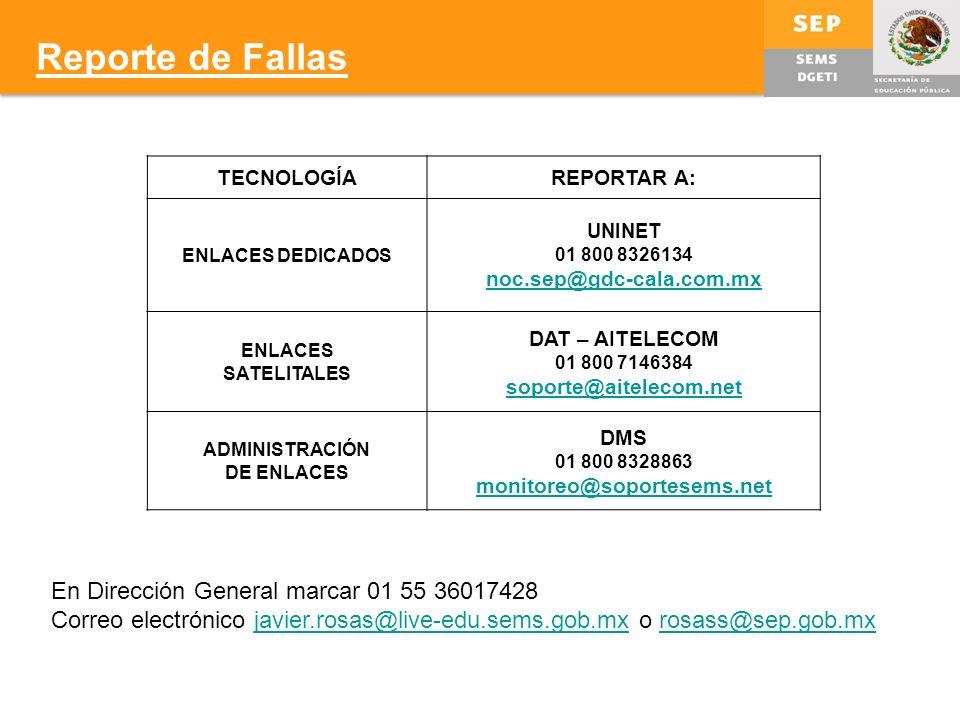 Reporte de Fallas En Dirección General marcar 01 55 36017428