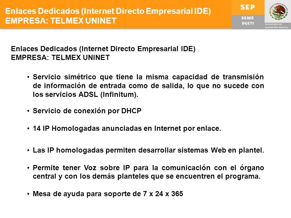 Enlaces Dedicados (Internet Directo Empresarial IDE)