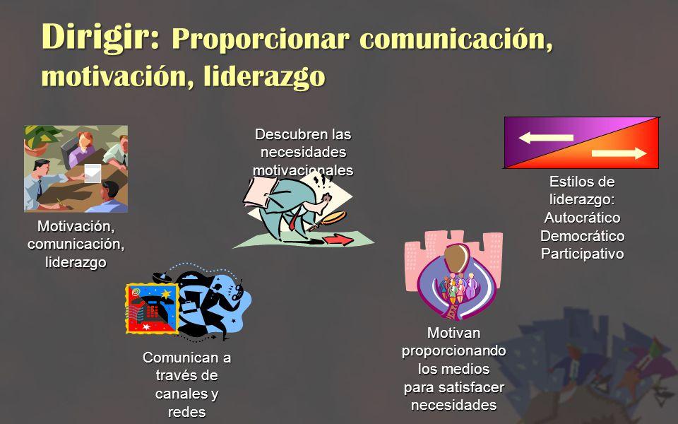 Dirigir: Proporcionar comunicación, motivación, liderazgo