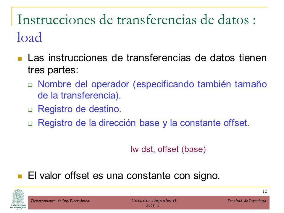 Instrucciones de transferencias de datos : load
