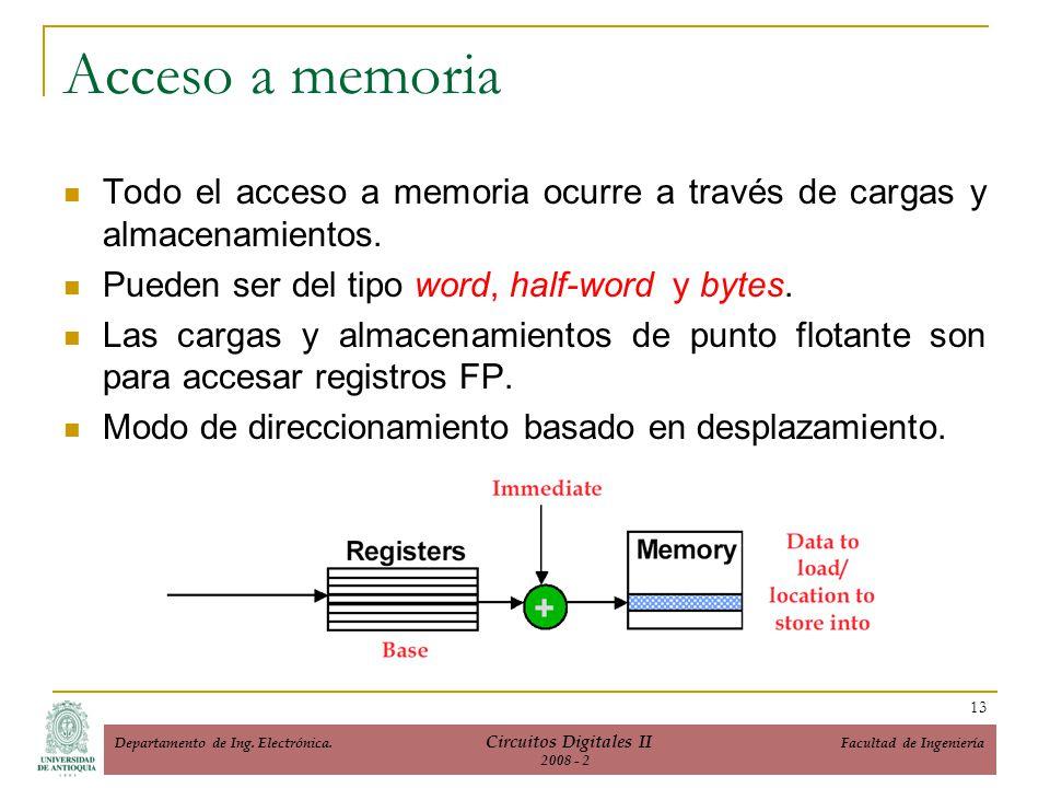 Acceso a memoria Todo el acceso a memoria ocurre a través de cargas y almacenamientos. Pueden ser del tipo word, half-word y bytes.