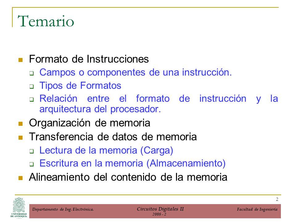 Temario Formato de Instrucciones Organización de memoria
