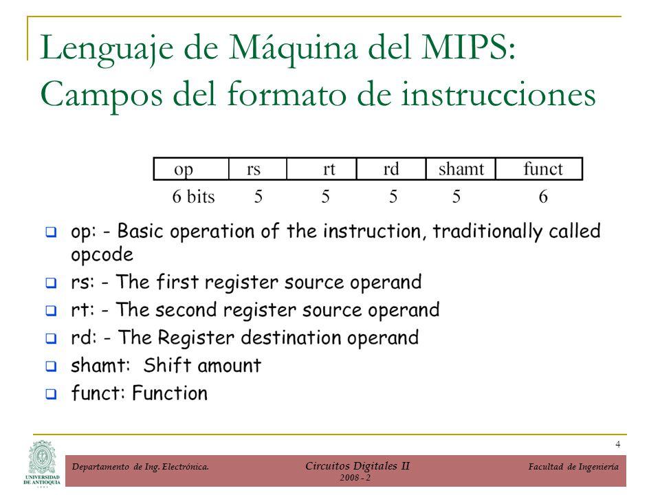 Lenguaje de Máquina del MIPS: Campos del formato de instrucciones