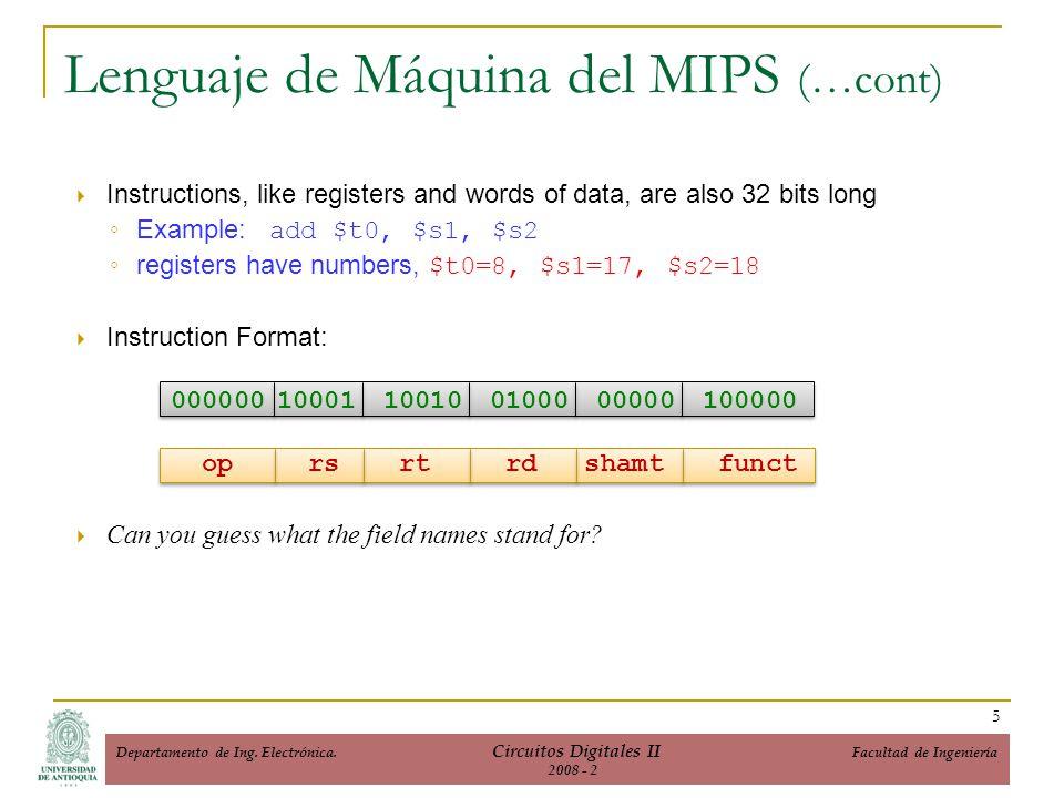 Lenguaje de Máquina del MIPS (…cont)