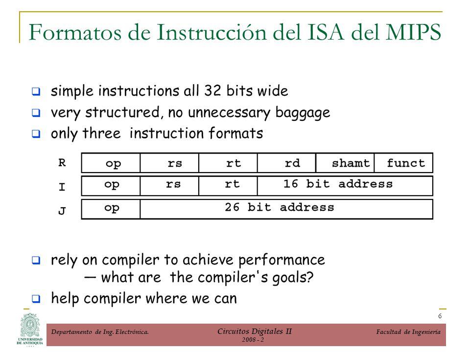 Formatos de Instrucción del ISA del MIPS