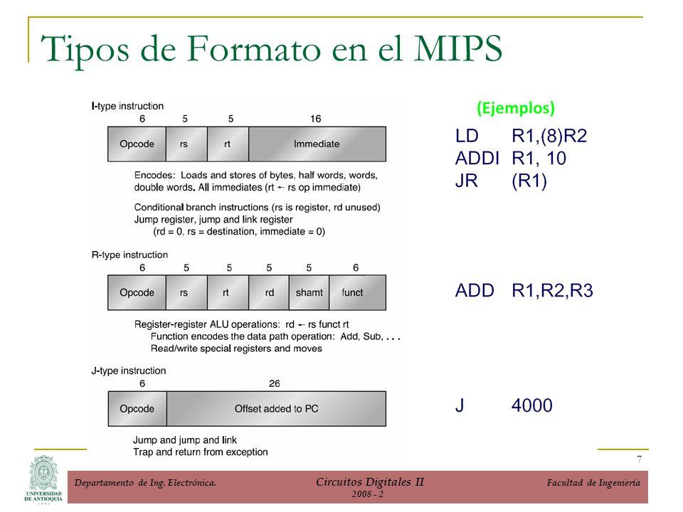 Tipos de Formato en el MIPS