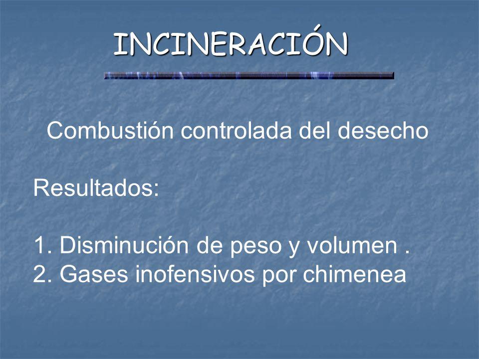 INCINERACIÓN Combustión controlada del desecho Resultados: