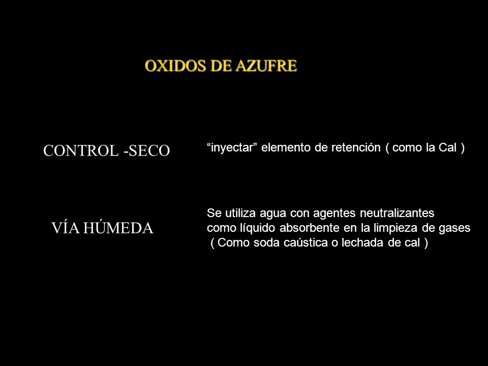 OXIDOS DE AZUFRE CONTROL -SECO VÍA HÚMEDA