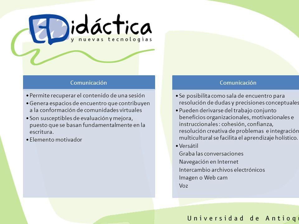 Comunicación Permite recuperar el contenido de una sesión. Genera espacios de encuentro que contribuyen a la conformación de comunidades virtuales.