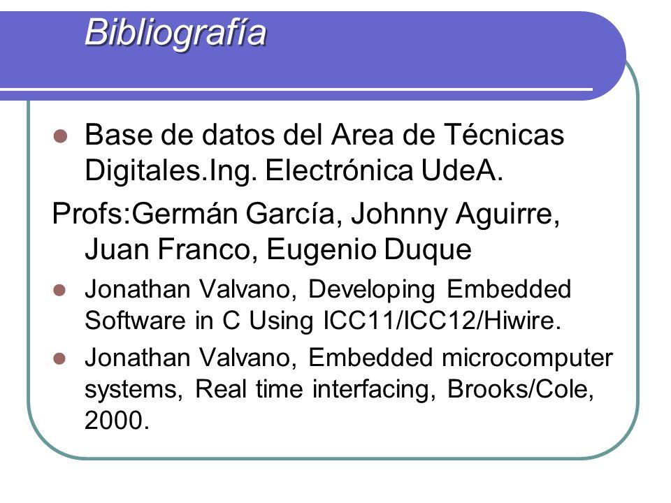 Bibliografía Base de datos del Area de Técnicas Digitales.Ing. Electrónica UdeA. Profs:Germán García, Johnny Aguirre, Juan Franco, Eugenio Duque.