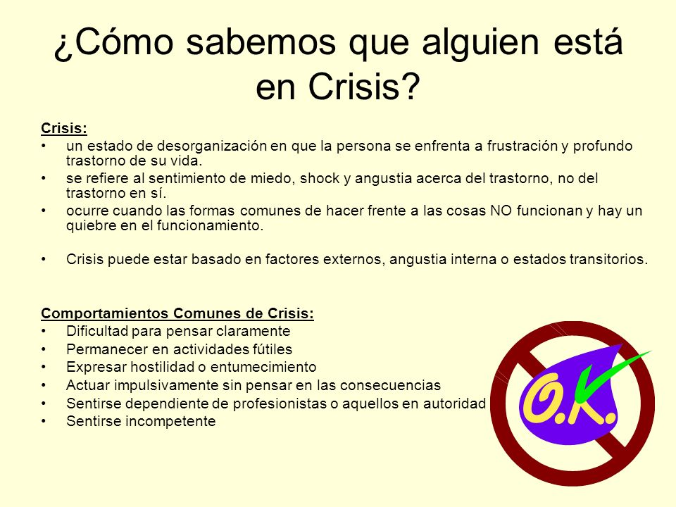 ¿Cómo sabemos que alguien está en Crisis