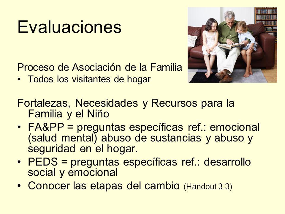 Evaluaciones Proceso de Asociación de la Familia. Todos los visitantes de hogar. Fortalezas, Necesidades y Recursos para la Familia y el Niño.