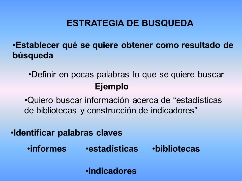 ESTRATEGIA DE BUSQUEDA