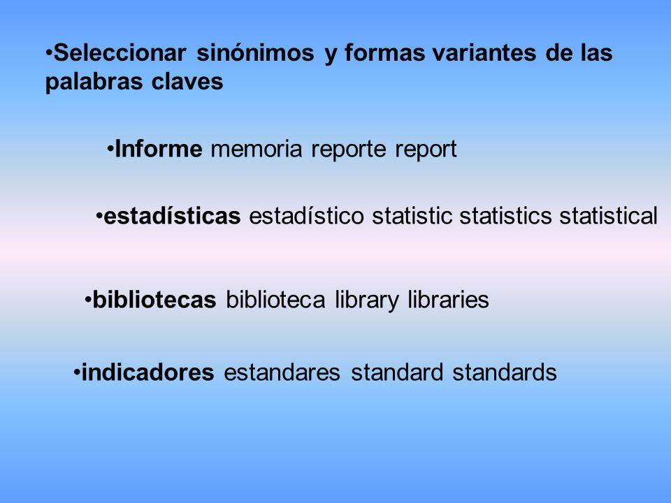 Seleccionar sinónimos y formas variantes de las palabras claves