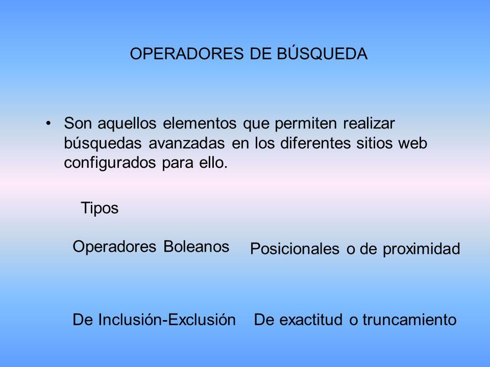 OPERADORES DE BÚSQUEDA