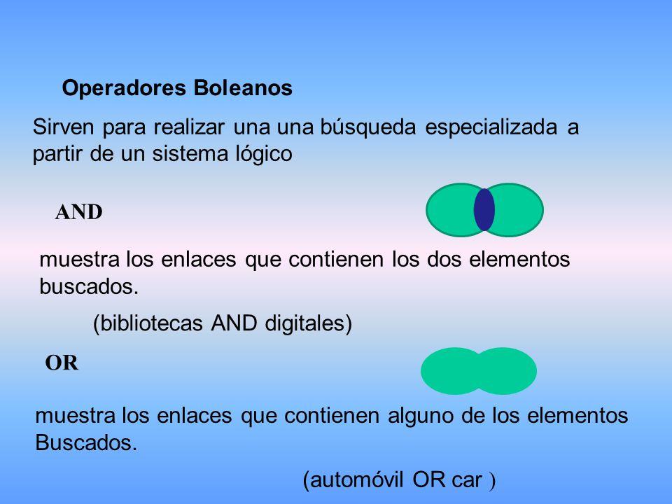 Operadores Boleanos Sirven para realizar una una búsqueda especializada a partir de un sistema lógico.