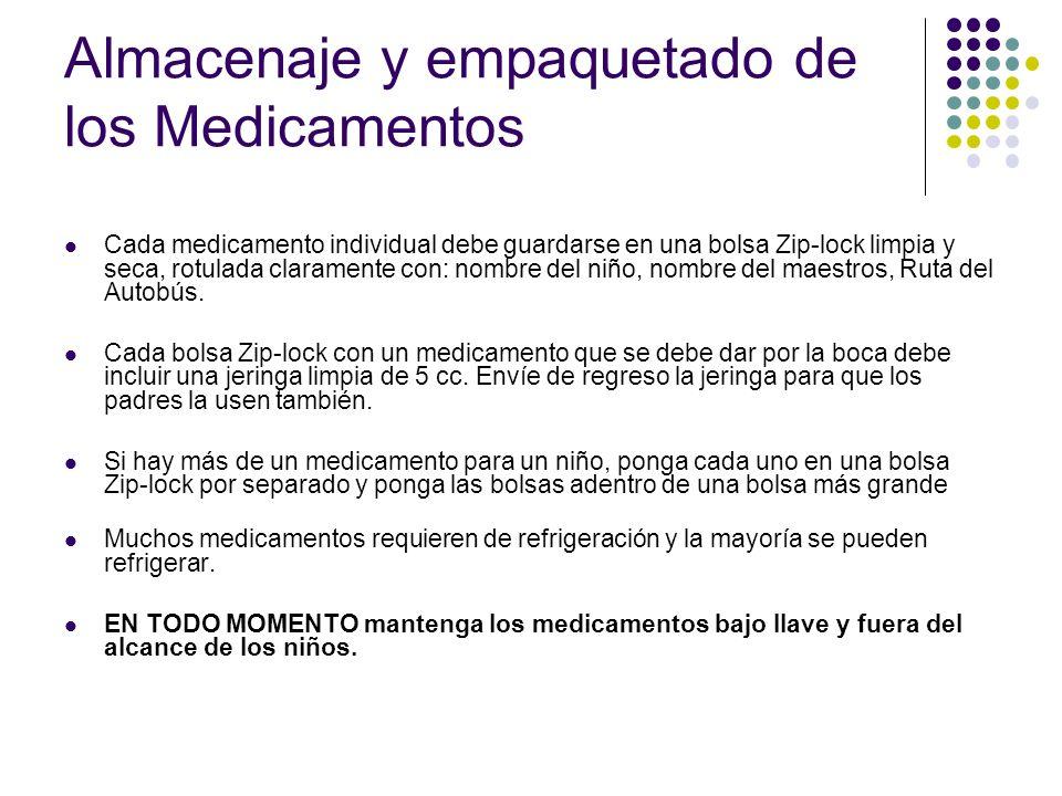 Almacenaje y empaquetado de los Medicamentos