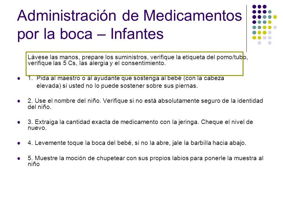 Administración de Medicamentos por la boca – Infantes
