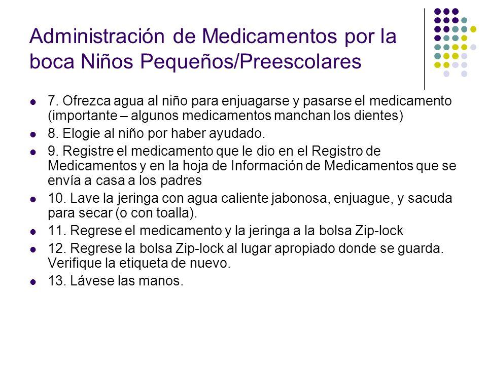 Administración de Medicamentos por la boca Niños Pequeños/Preescolares