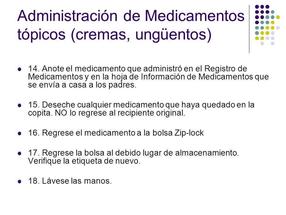 Administración de Medicamentos tópicos (cremas, ungüentos)