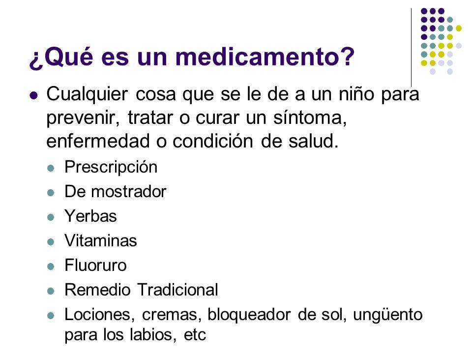 ¿Qué es un medicamento Cualquier cosa que se le de a un niño para prevenir, tratar o curar un síntoma, enfermedad o condición de salud.