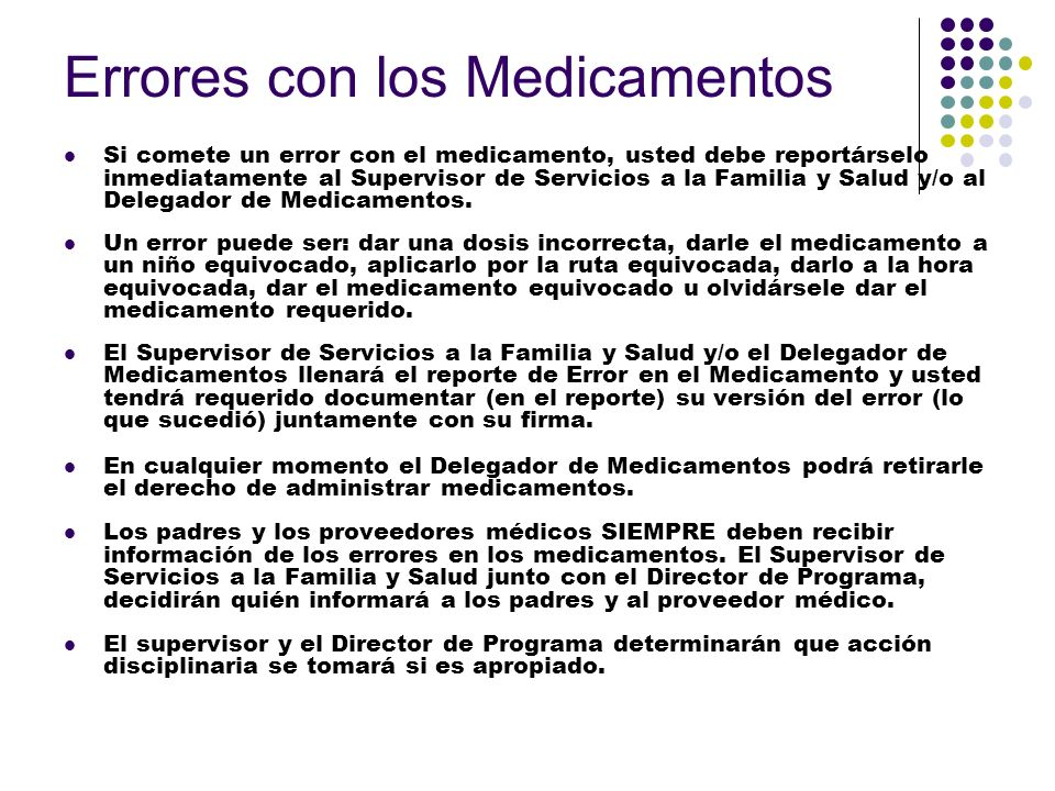 Errores con los Medicamentos