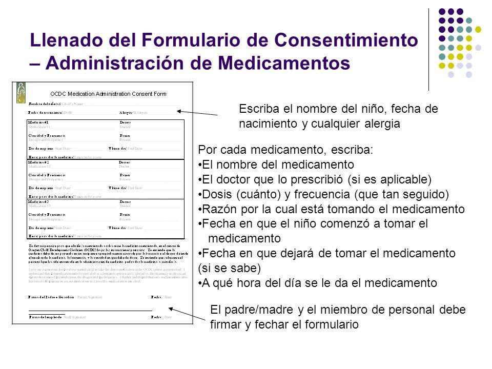 Llenado del Formulario de Consentimiento – Administración de Medicamentos