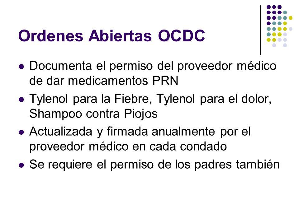 Ordenes Abiertas OCDC Documenta el permiso del proveedor médico de dar medicamentos PRN.