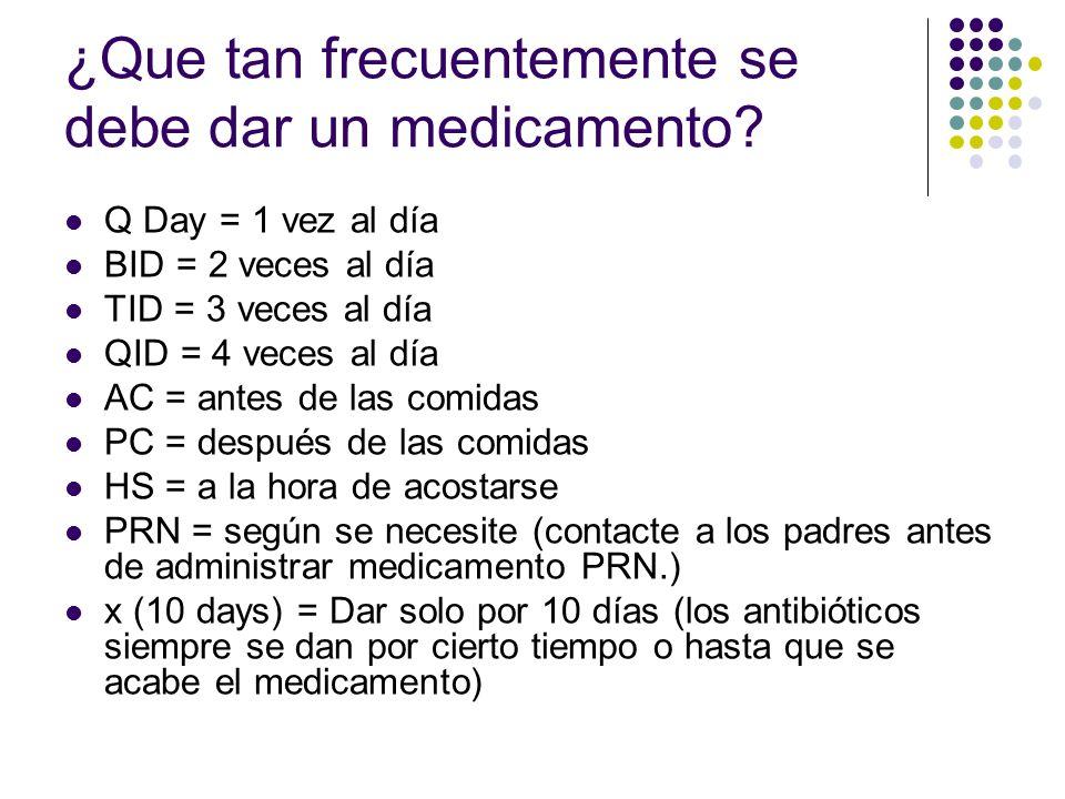 ¿Que tan frecuentemente se debe dar un medicamento