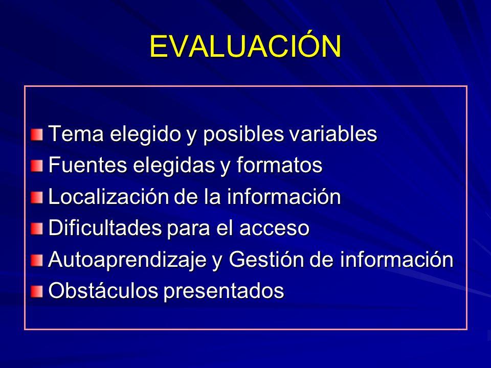 EVALUACIÓN Tema elegido y posibles variables