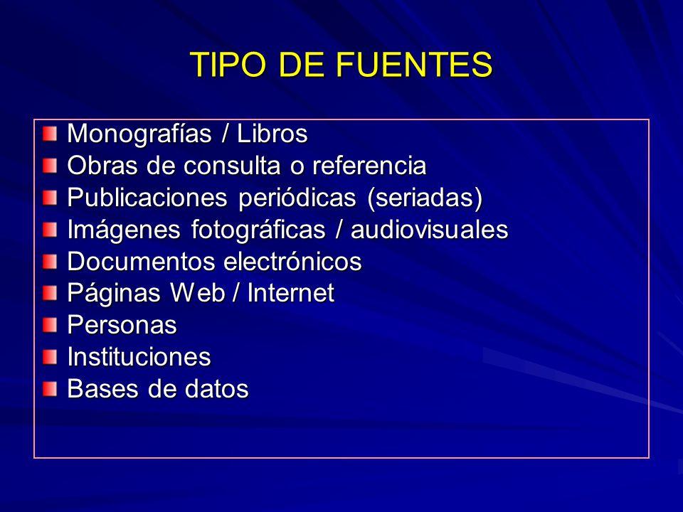 TIPO DE FUENTES Monografías / Libros Obras de consulta o referencia