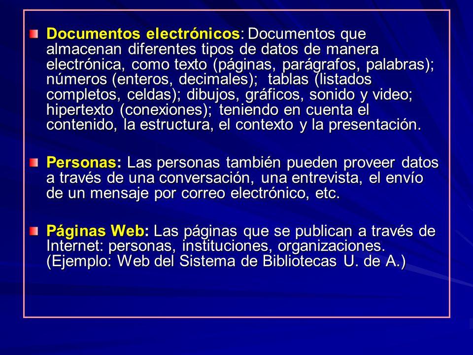 Documentos electrónicos: Documentos que almacenan diferentes tipos de datos de manera electrónica, como texto (páginas, parágrafos, palabras); números (enteros, decimales); tablas (listados completos, celdas); dibujos, gráficos, sonido y video; hipertexto (conexiones); teniendo en cuenta el contenido, la estructura, el contexto y la presentación.