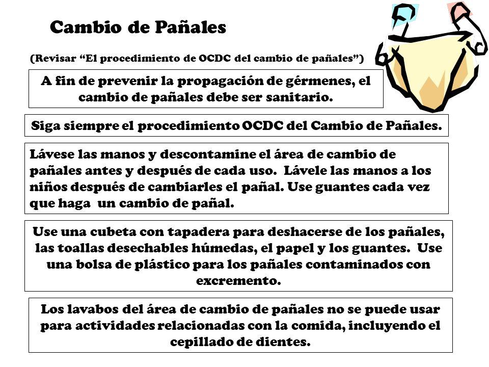 Siga siempre el procedimiento OCDC del Cambio de Pañales.