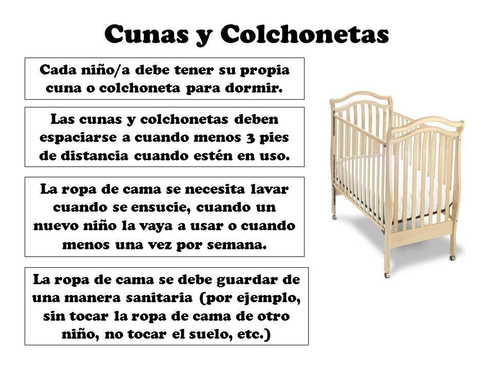 Cada niño/a debe tener su propia cuna o colchoneta para dormir.