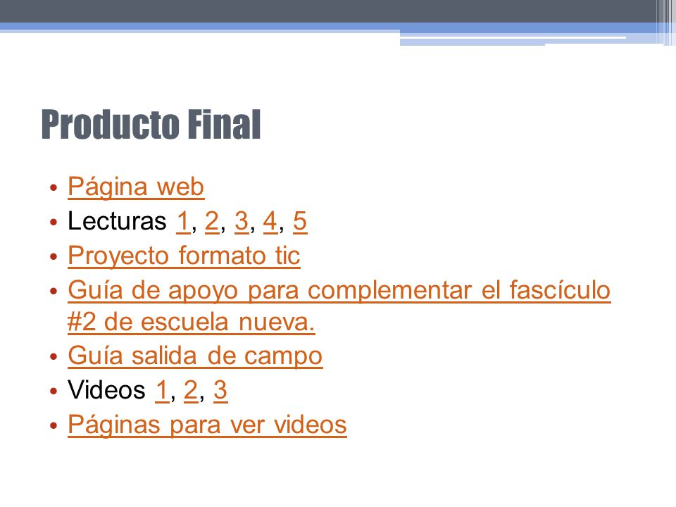 Producto Final Página web Lecturas 1, 2, 3, 4, 5 Proyecto formato tic