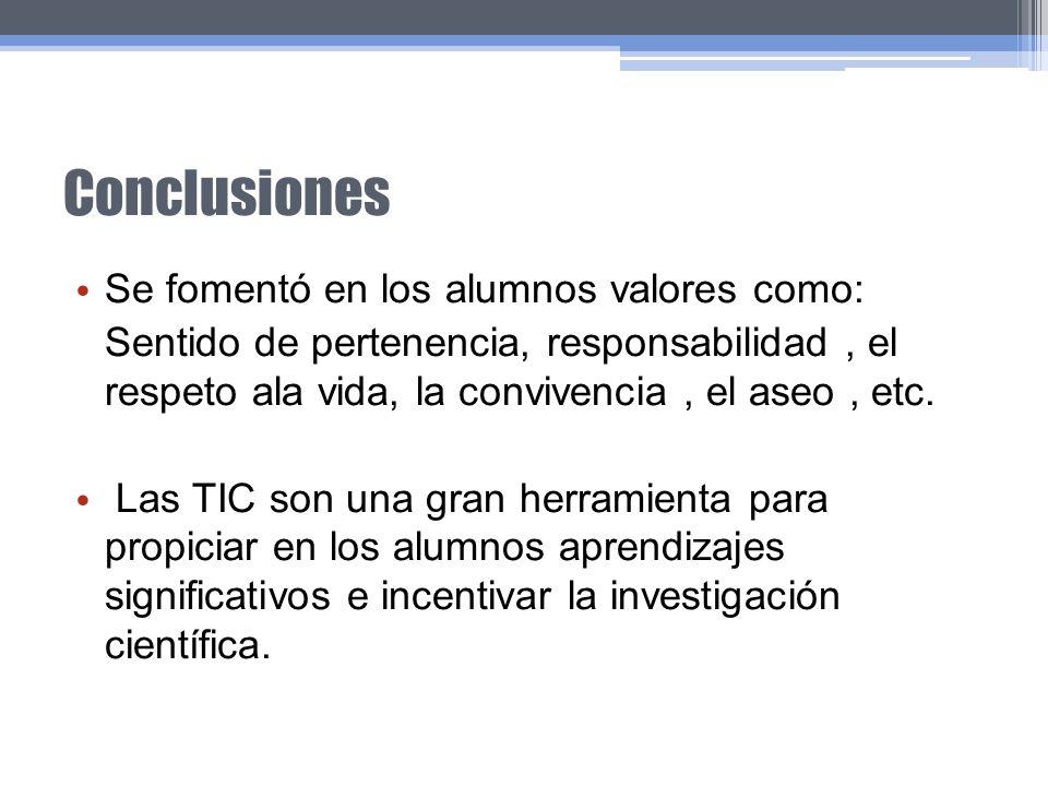 Conclusiones Se fomentó en los alumnos valores como: