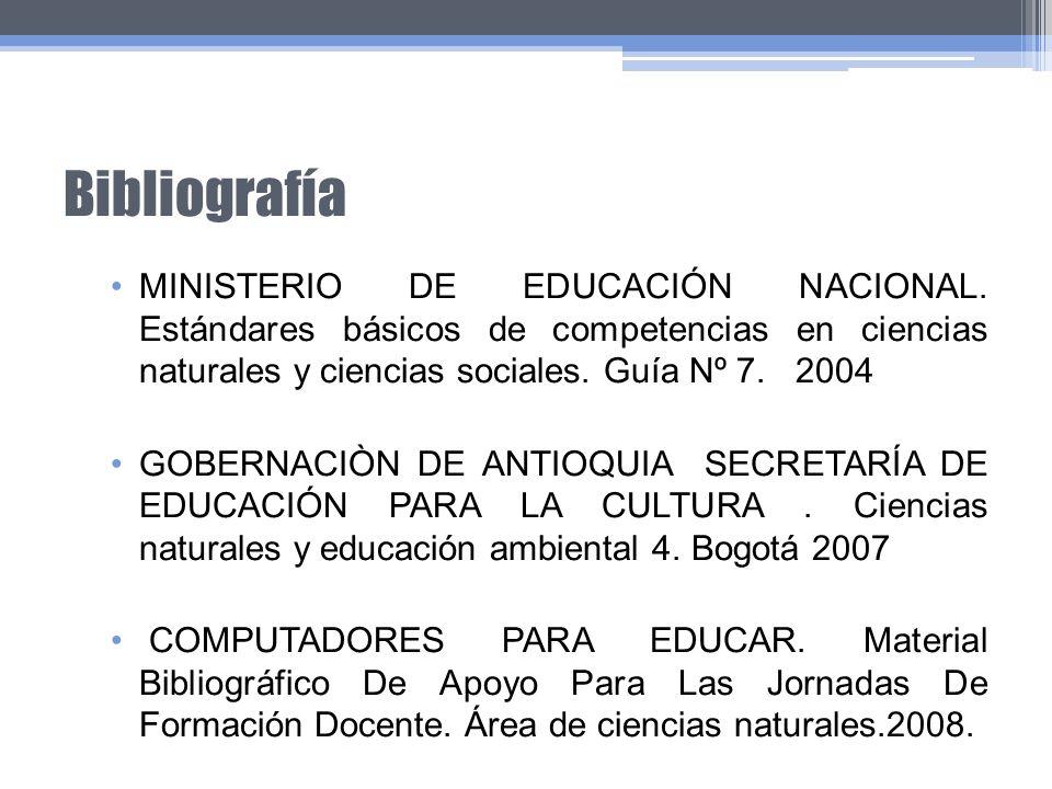 Bibliografía MINISTERIO DE EDUCACIÓN NACIONAL. Estándares básicos de competencias en ciencias naturales y ciencias sociales. Guía Nº 7. 2004.