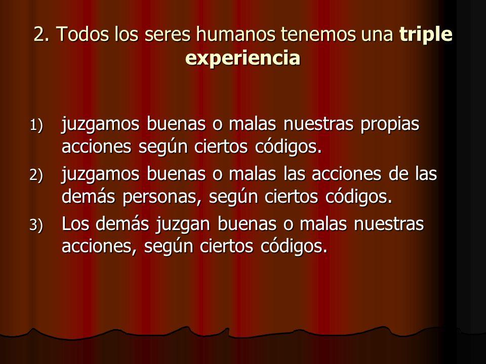 2. Todos los seres humanos tenemos una triple experiencia